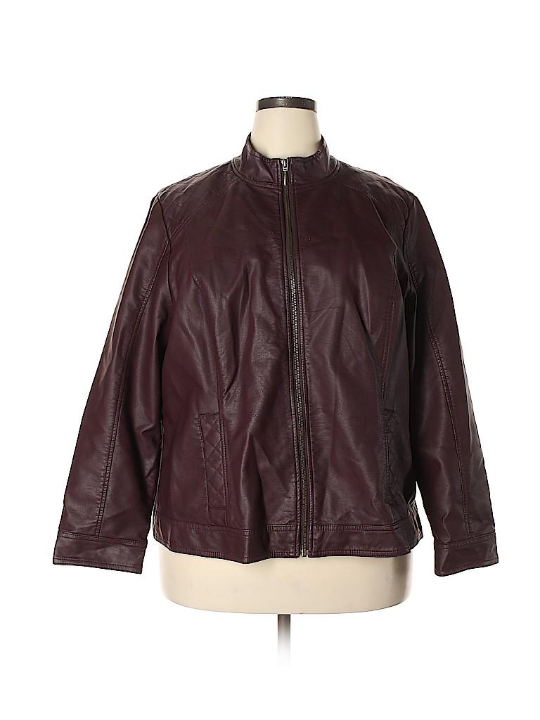Cj Banks Women Faux Leather Jacket Size 2X (Plus)