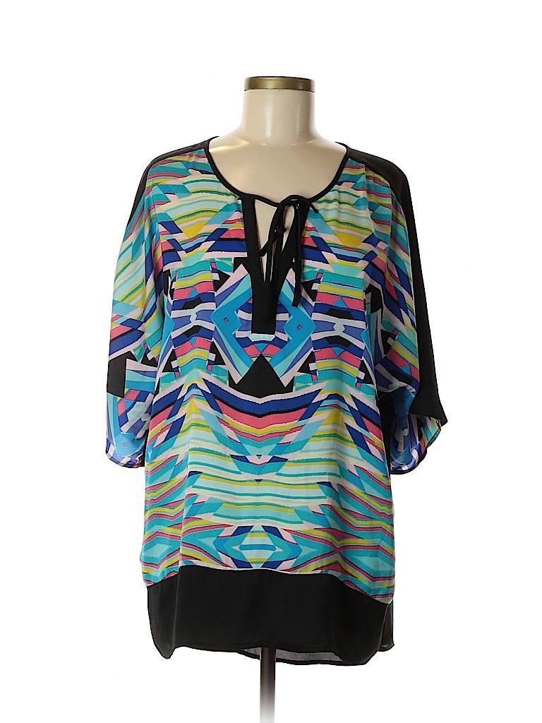 Nicole by Nicole Miller Women Short Sleeve Blouse Size L