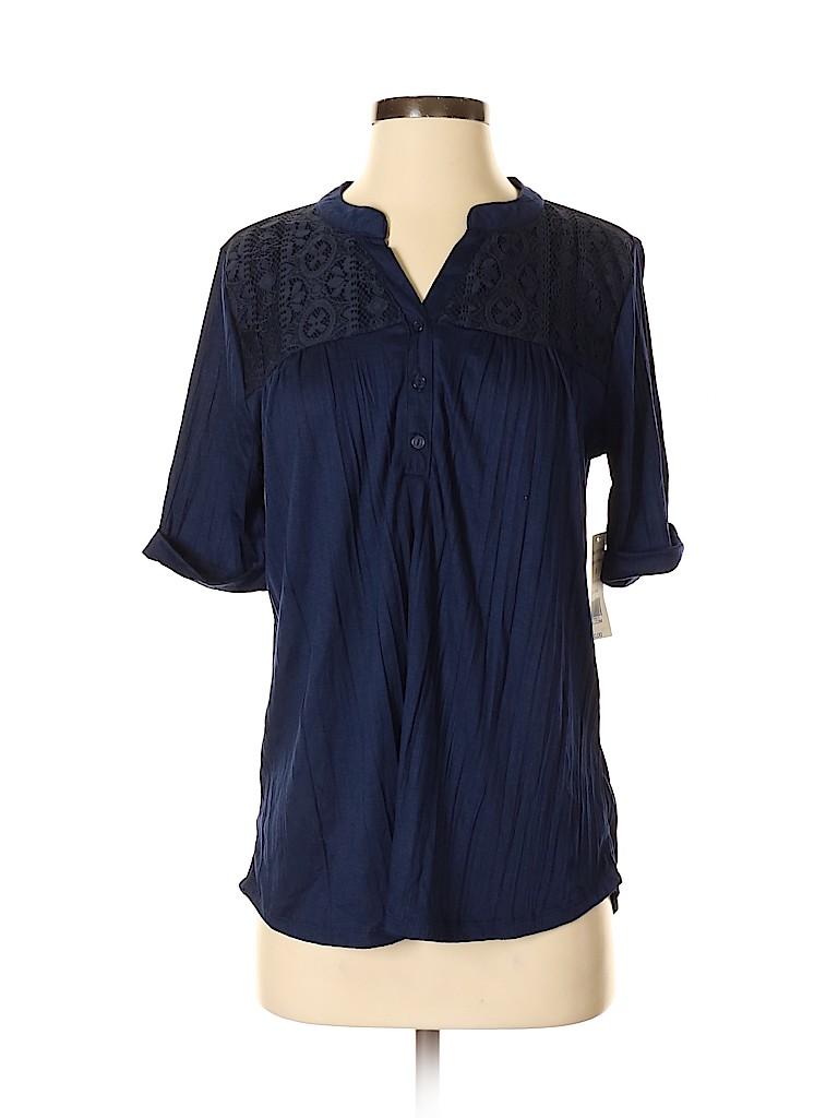 Kim Rogers Women Short Sleeve Henley Size S
