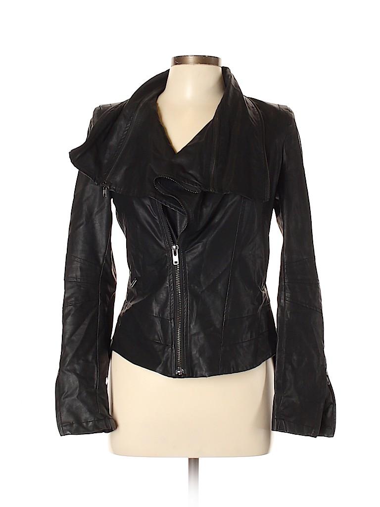 Akira Chicago Black Label Women Faux Leather Jacket Size L