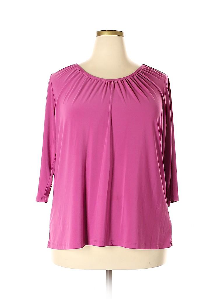 Susan Graver Women 3/4 Sleeve Top Size 1X (Plus)