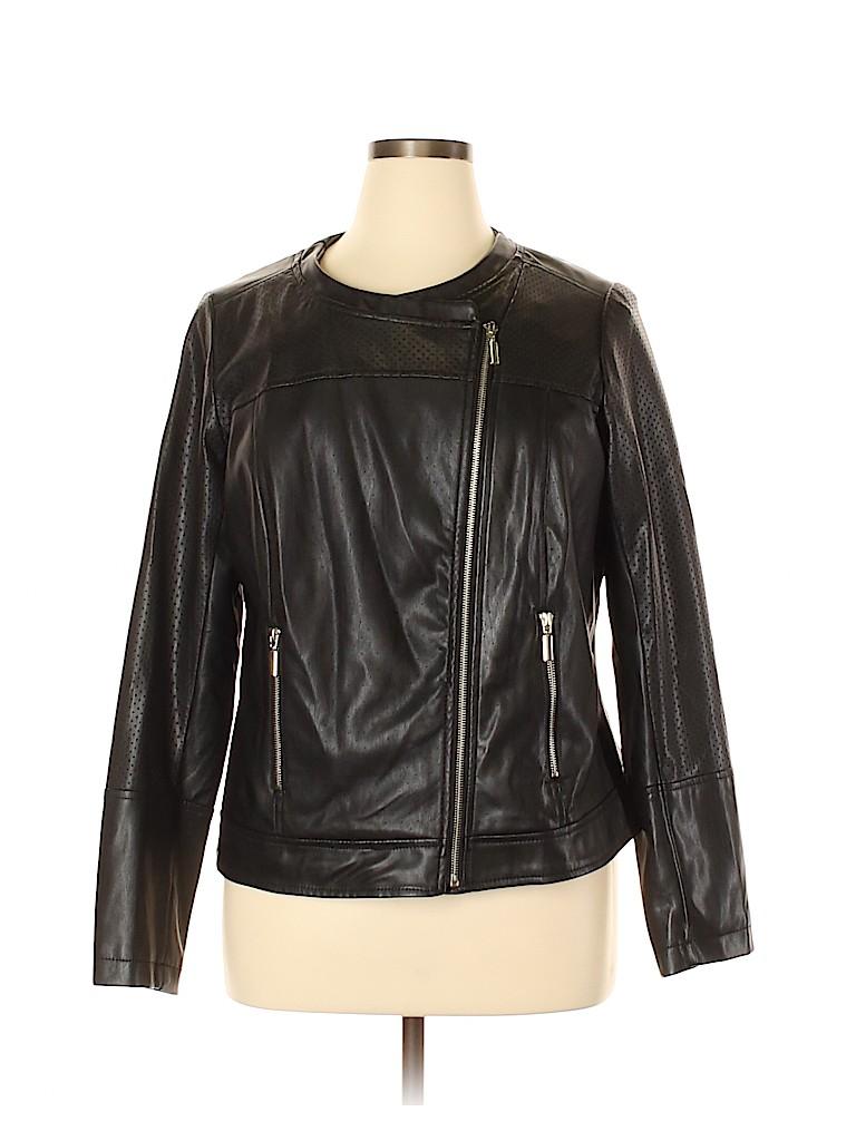 Lane Bryant Women Faux Leather Jacket Size 14 Plus (1) (Plus)