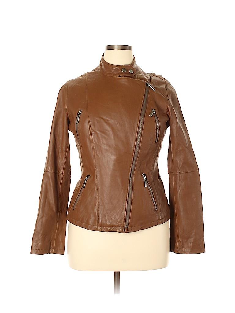 MICHAEL Michael Kors Women Leather Jacket Size L