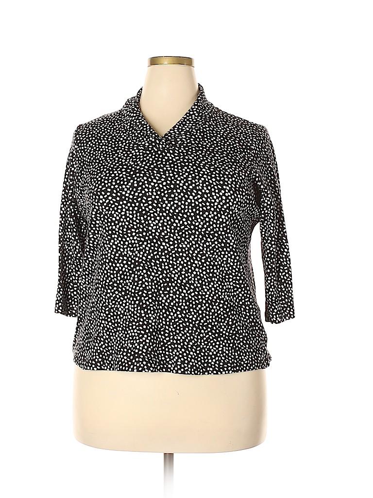 Jones New York Signature Women 3/4 Sleeve Top Size 2X (Plus)