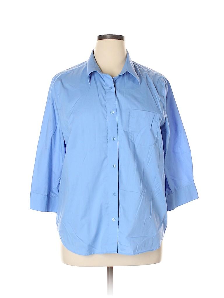 Blair Women 3/4 Sleeve Button-Down Shirt Size XL