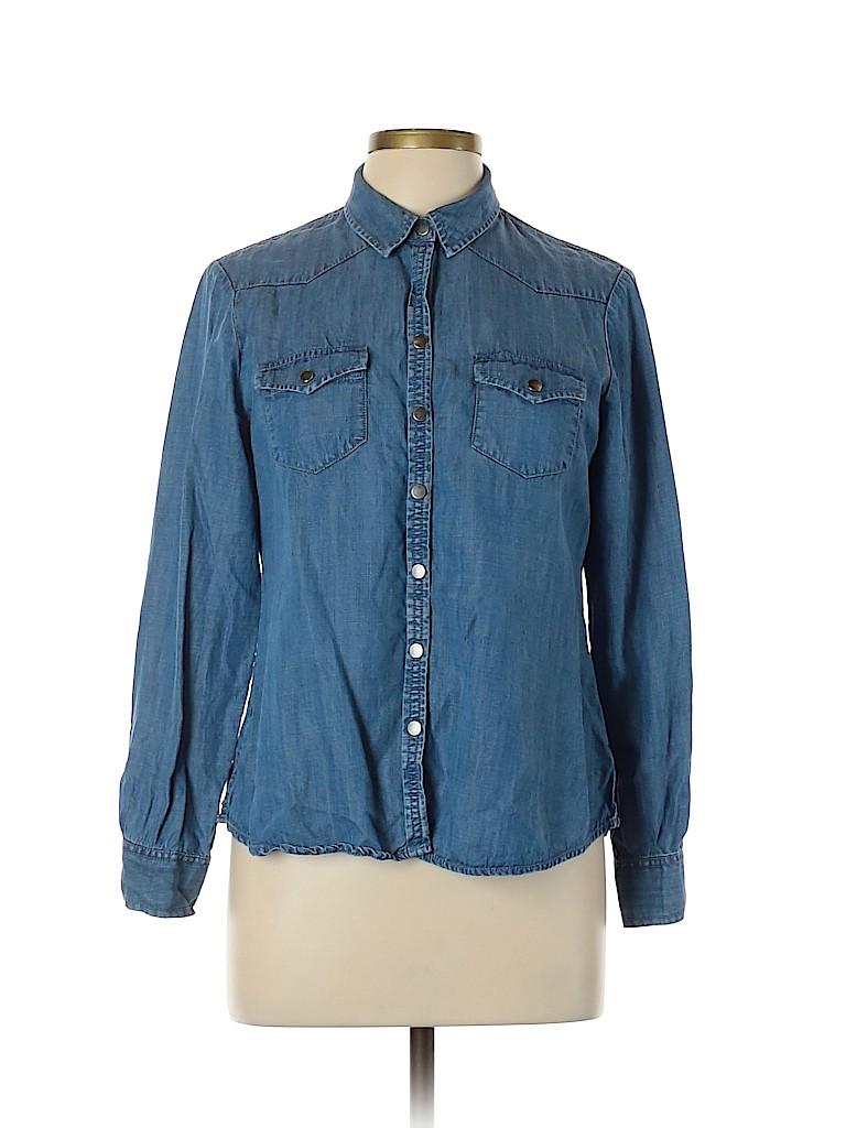 Foxcroft Women Long Sleeve Blouse Size 10 (Petite)