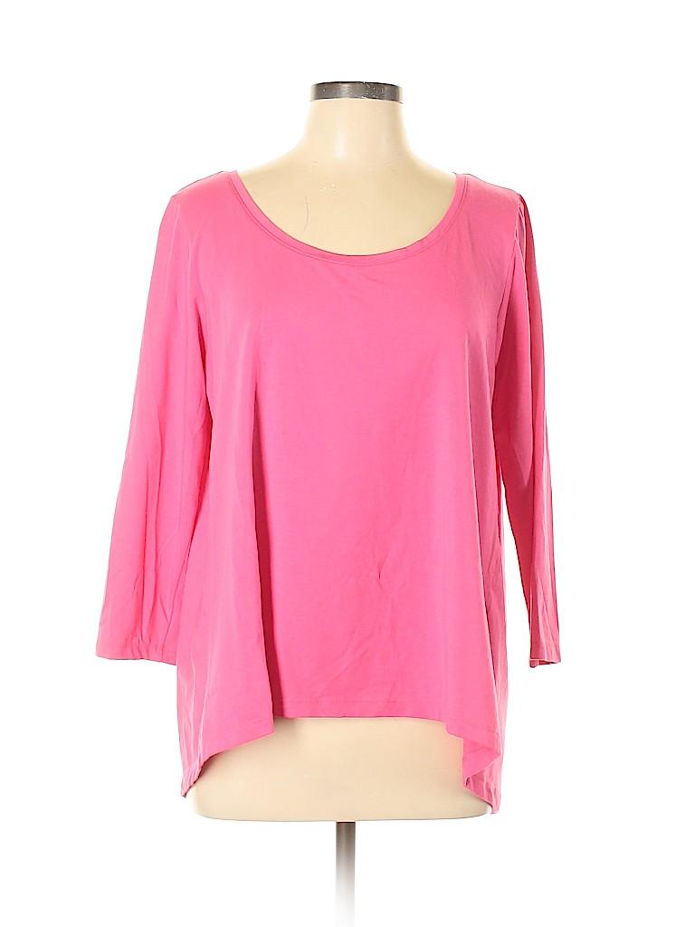 Lands' End Women 3/4 Sleeve T-Shirt Size L