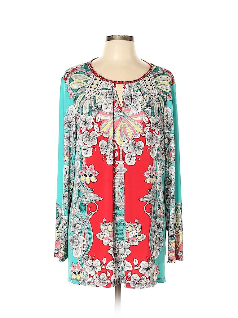 Susan Graver Women Long Sleeve Top Size XL