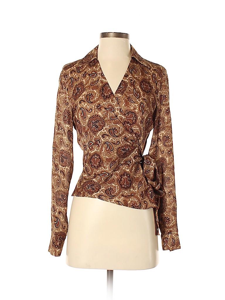 MICHAEL Michael Kors Women Long Sleeve Silk Top Size 4