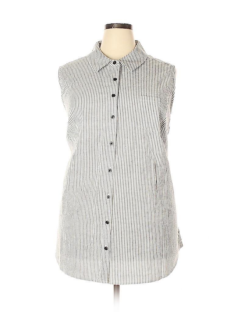 D&Co. Women Sleeveless Button-Down Shirt Size 3X (Plus)