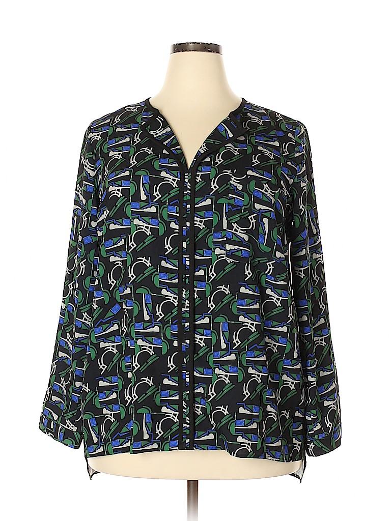 ELOQUII Women Long Sleeve Blouse Size 18 (Plus)