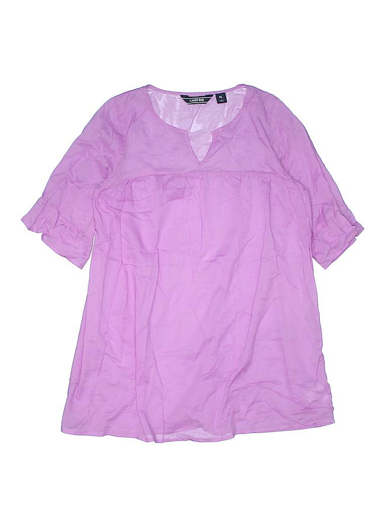 Lands' End Women Short Sleeve Blouse Size XL