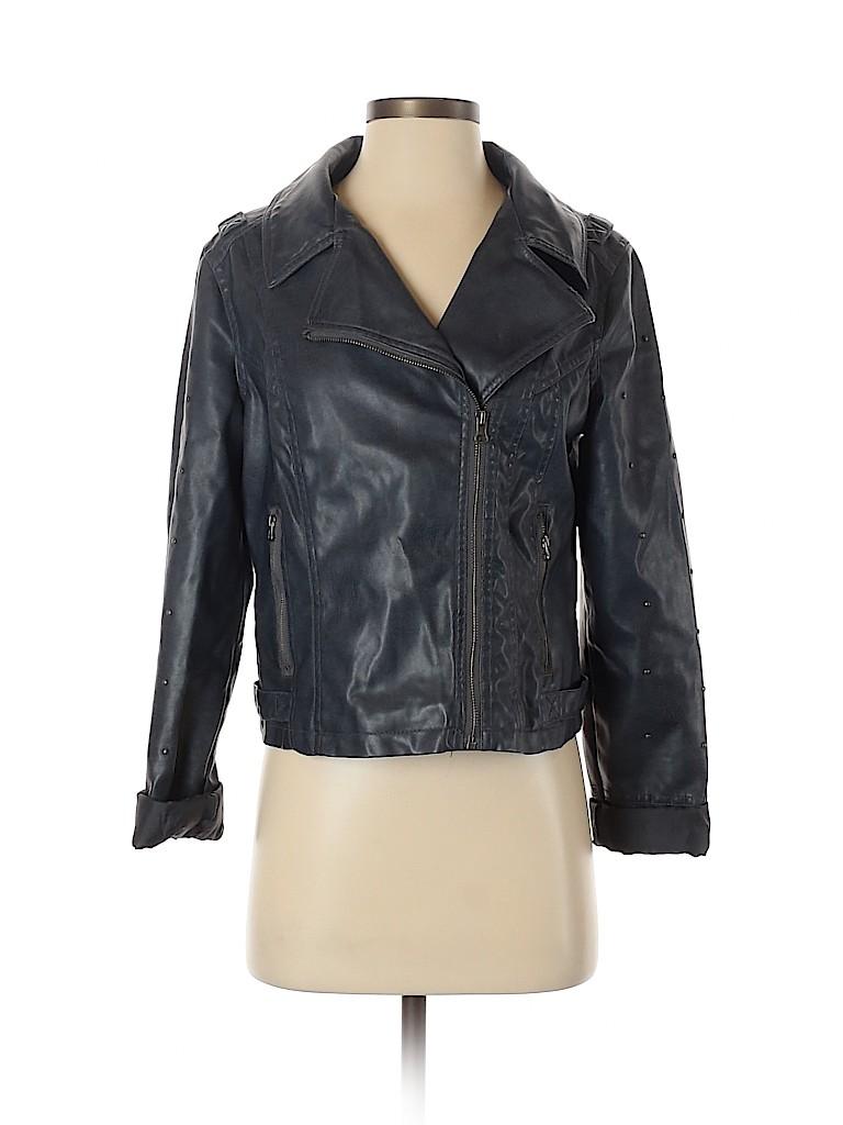 Miss London Women Faux Leather Jacket Size M