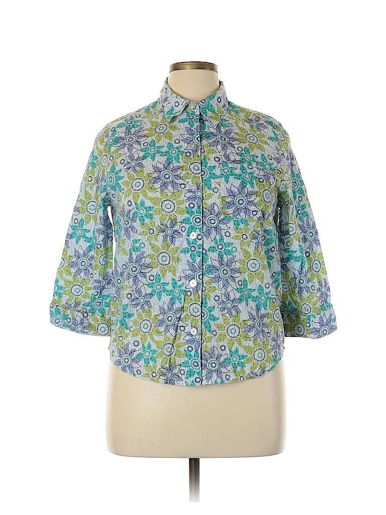 Alfred Dunner Women 3/4 Sleeve Button-Down Shirt Size 14