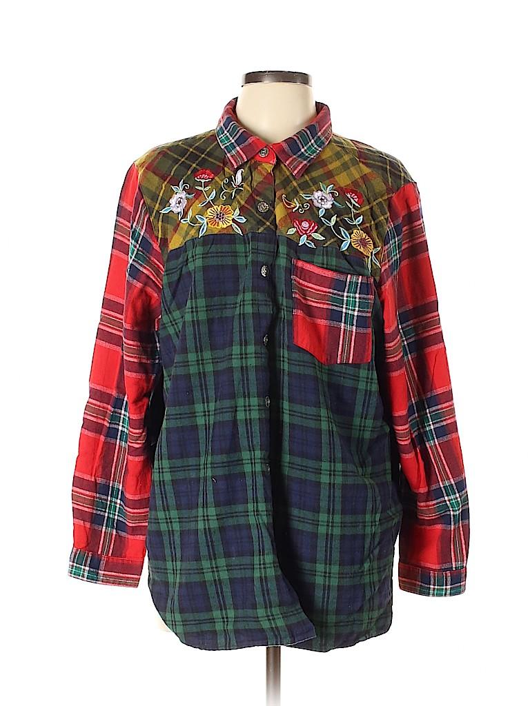 Blair Women Long Sleeve Button-Down Shirt Size XL