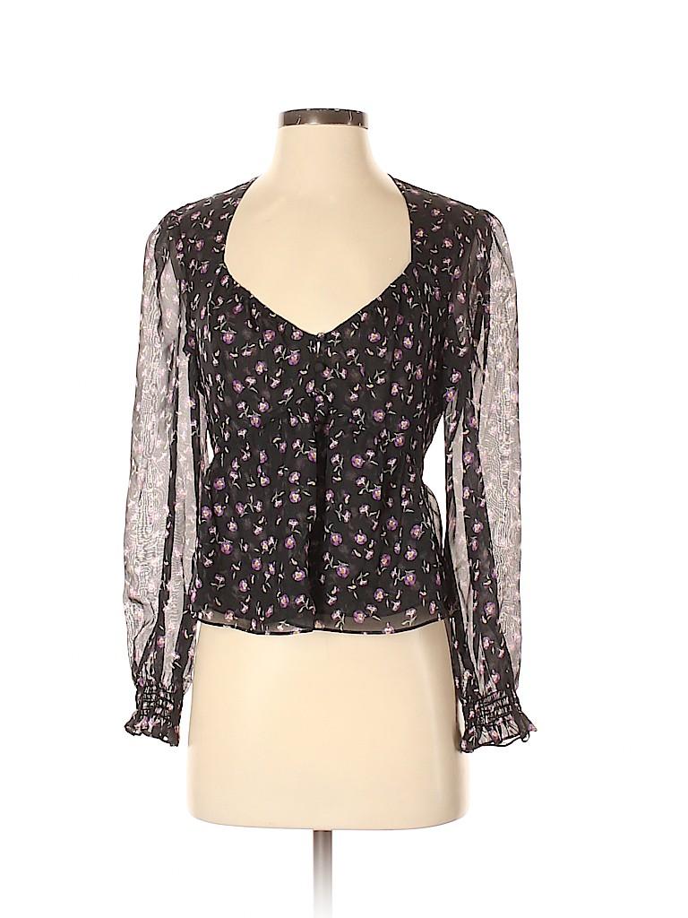 Intermix Women Long Sleeve Silk Top Size 2