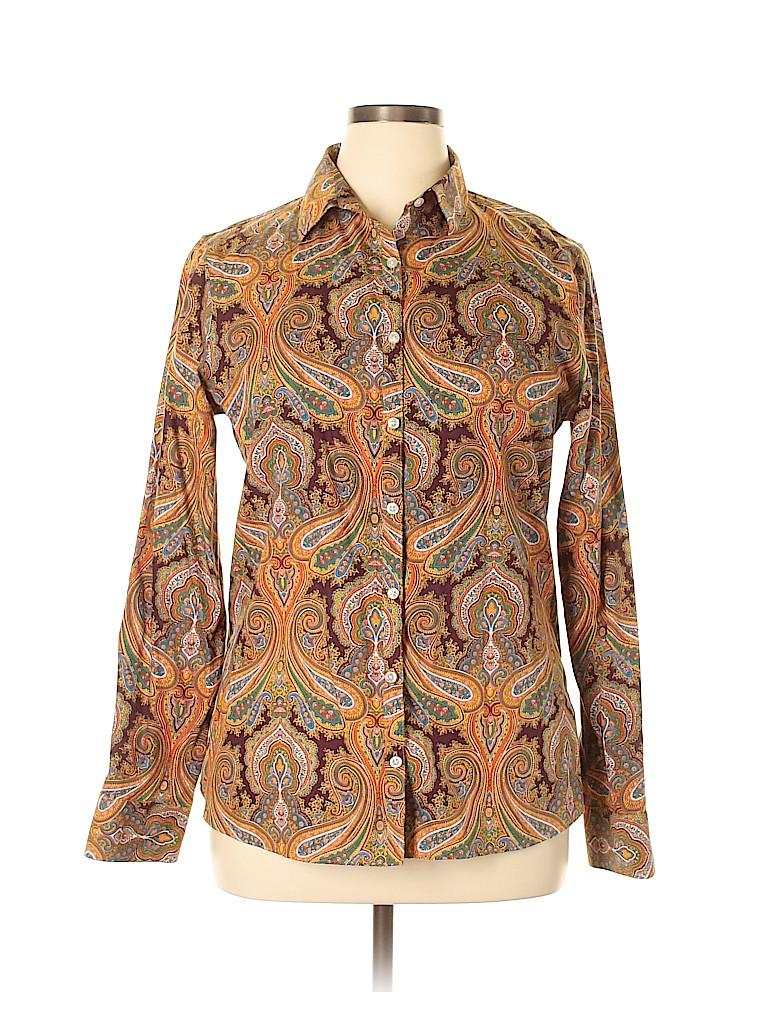 Lands' End Women Long Sleeve Button-Down Shirt Size 14