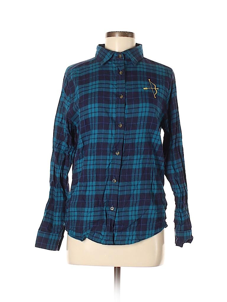 Disney Women Long Sleeve Button-Down Shirt Size M