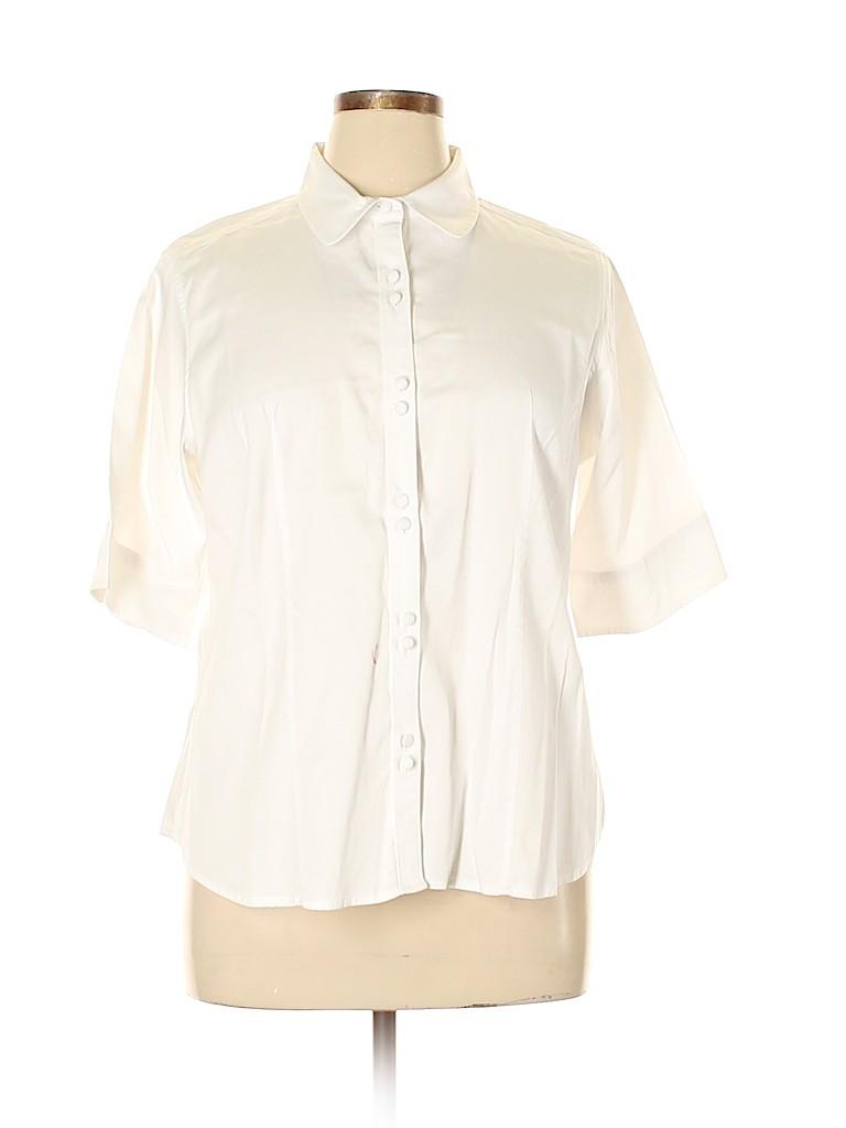 Talbots Women Short Sleeve Button-Down Shirt Size 16