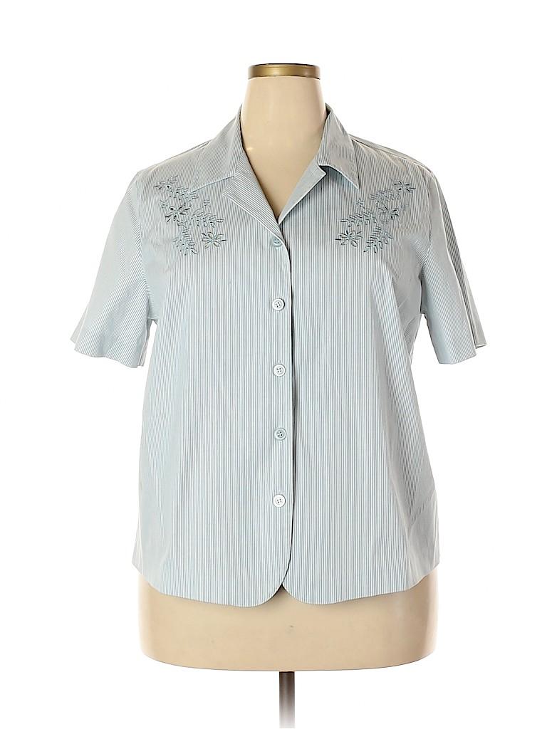 Alfred Dunner Women Short Sleeve Button-Down Shirt Size 18 (Plus)