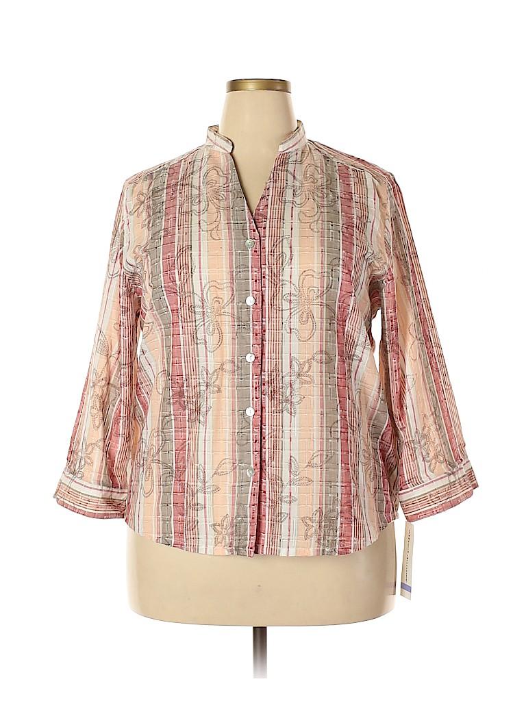 Alfred Dunner Women 3/4 Sleeve Button-Down Shirt Size 18 (Plus)
