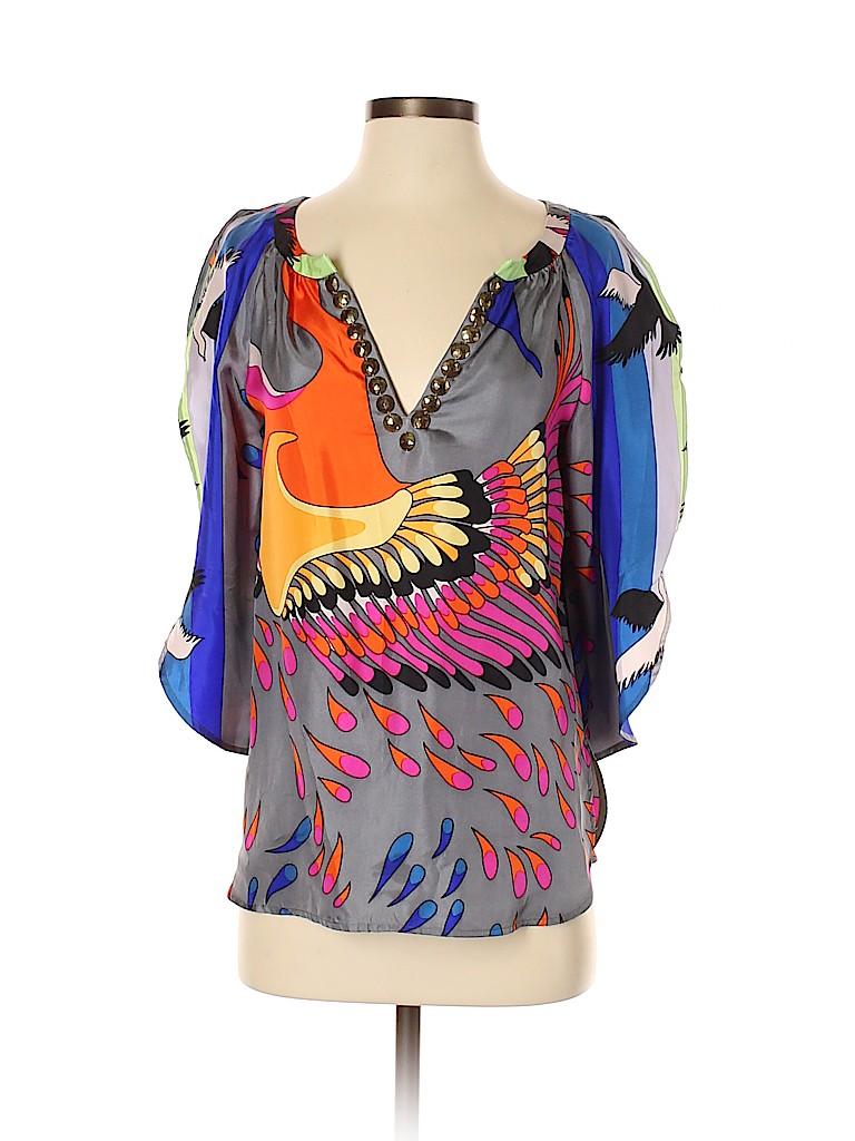 Tibi Women 3/4 Sleeve Silk Top Size 2
