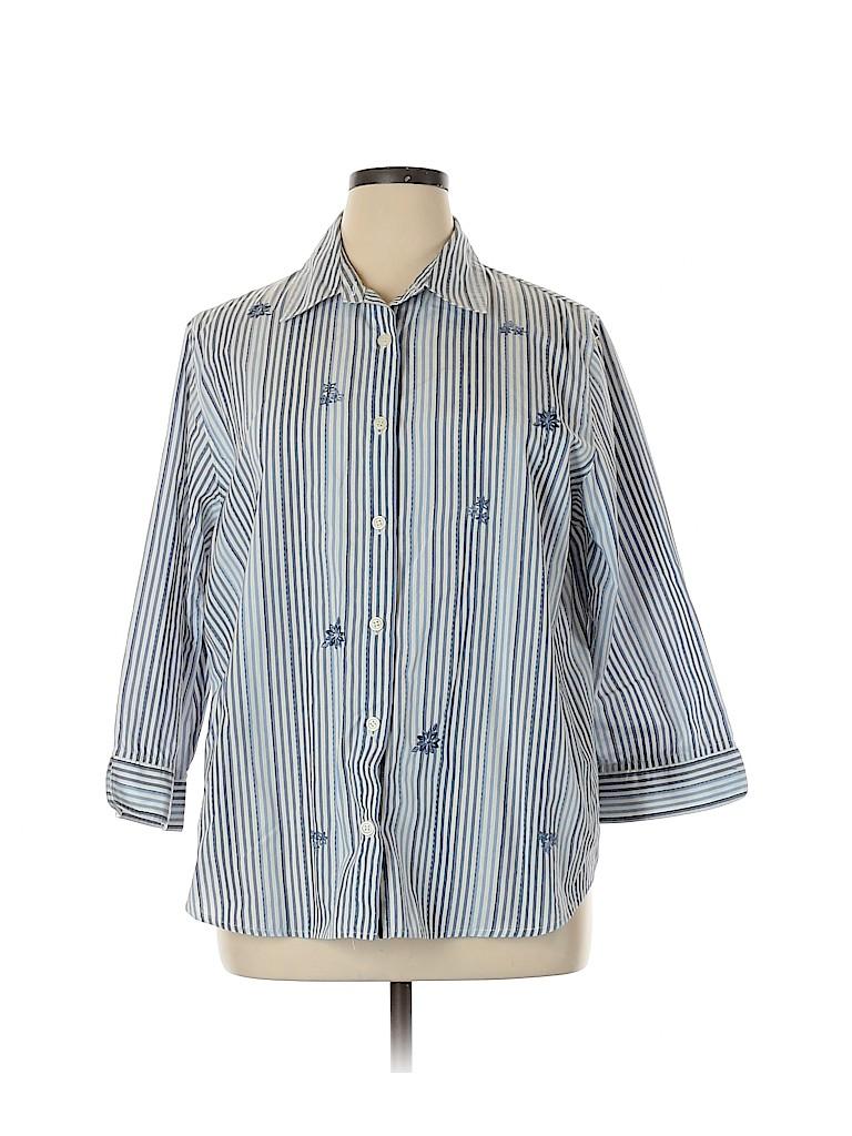 Alfred Dunner Women 3/4 Sleeve Button-Down Shirt Size 16