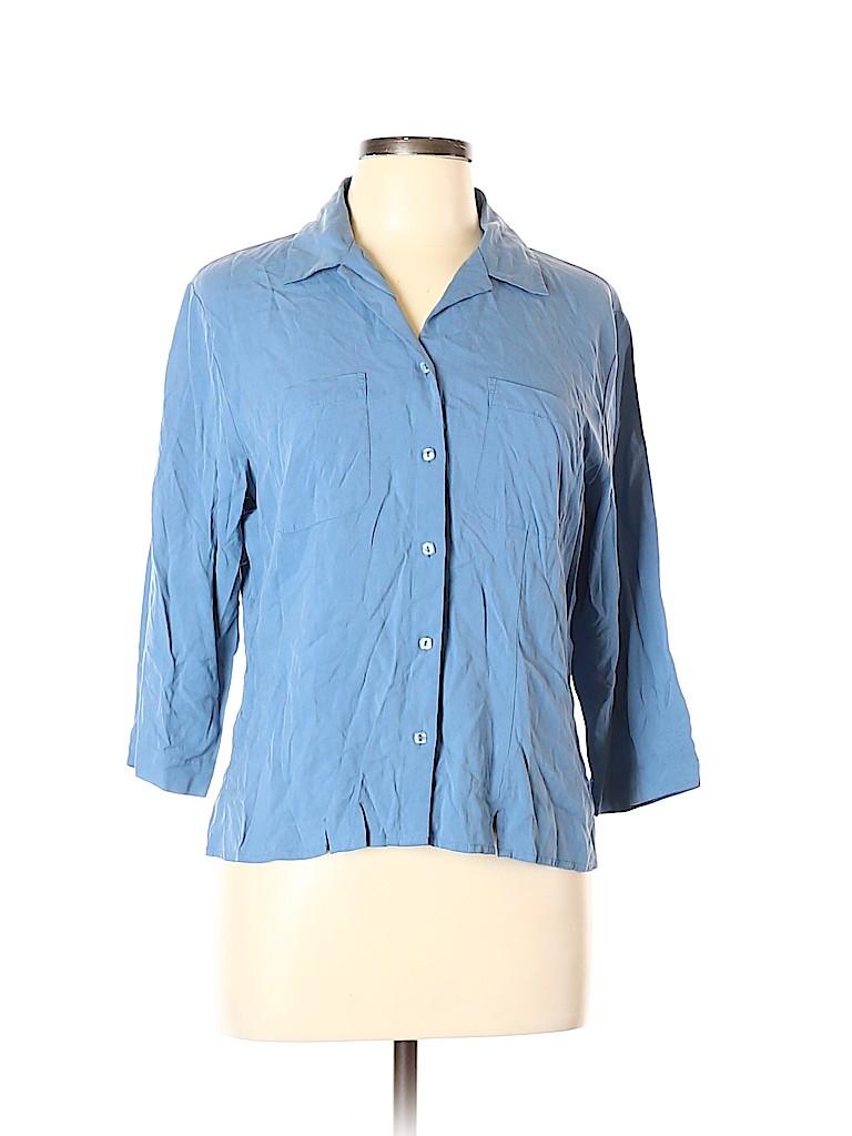 Notations Women 3/4 Sleeve Silk Top Size L