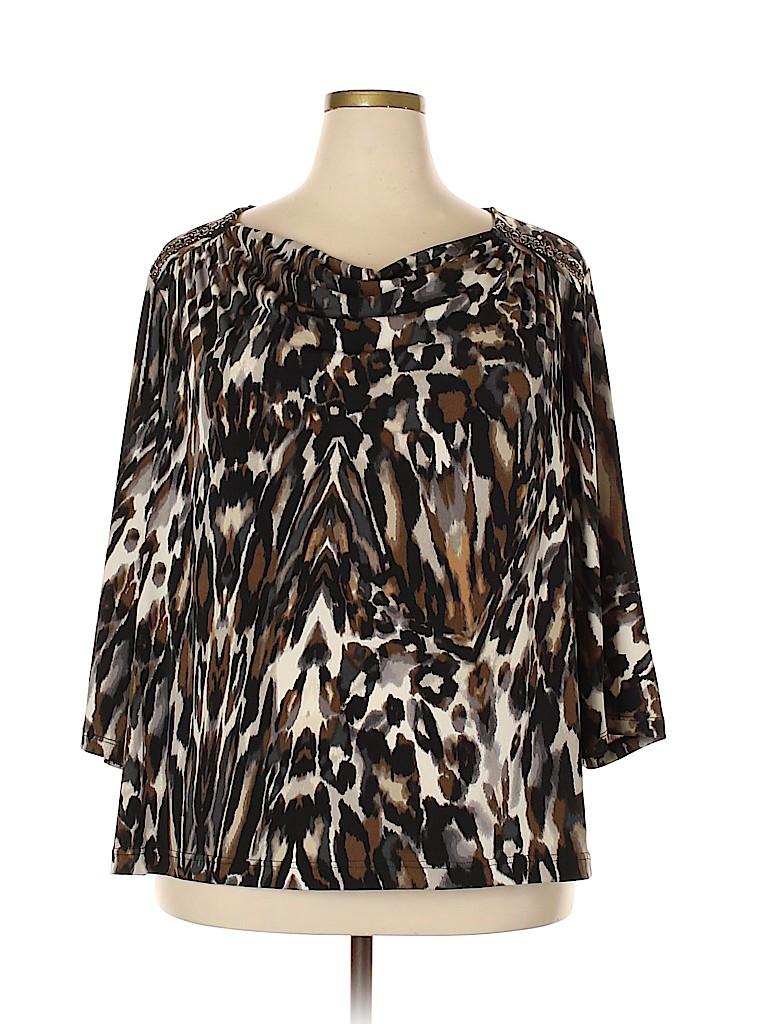 Susan Graver Women 3/4 Sleeve Top Size 3X (Plus)
