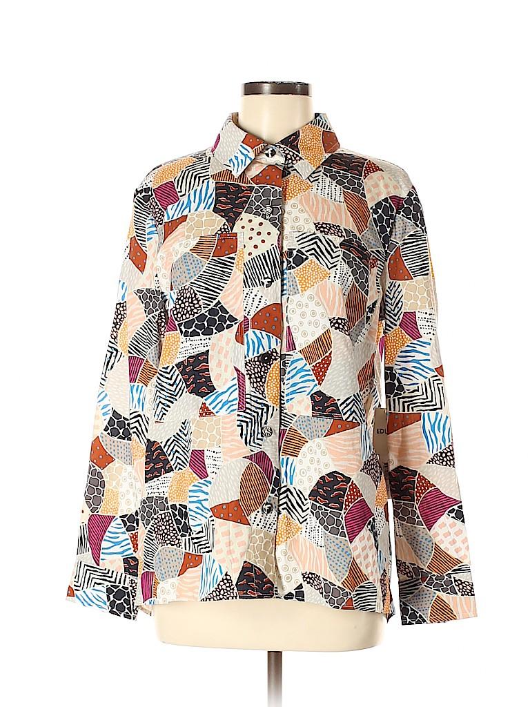 Edun Women Long Sleeve Button-Down Shirt Size 8