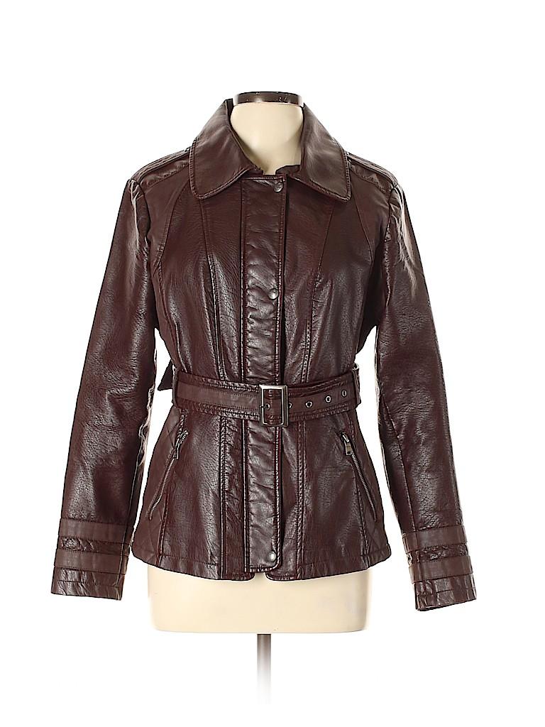 Jessica Simpson Women Faux Leather Jacket Size L