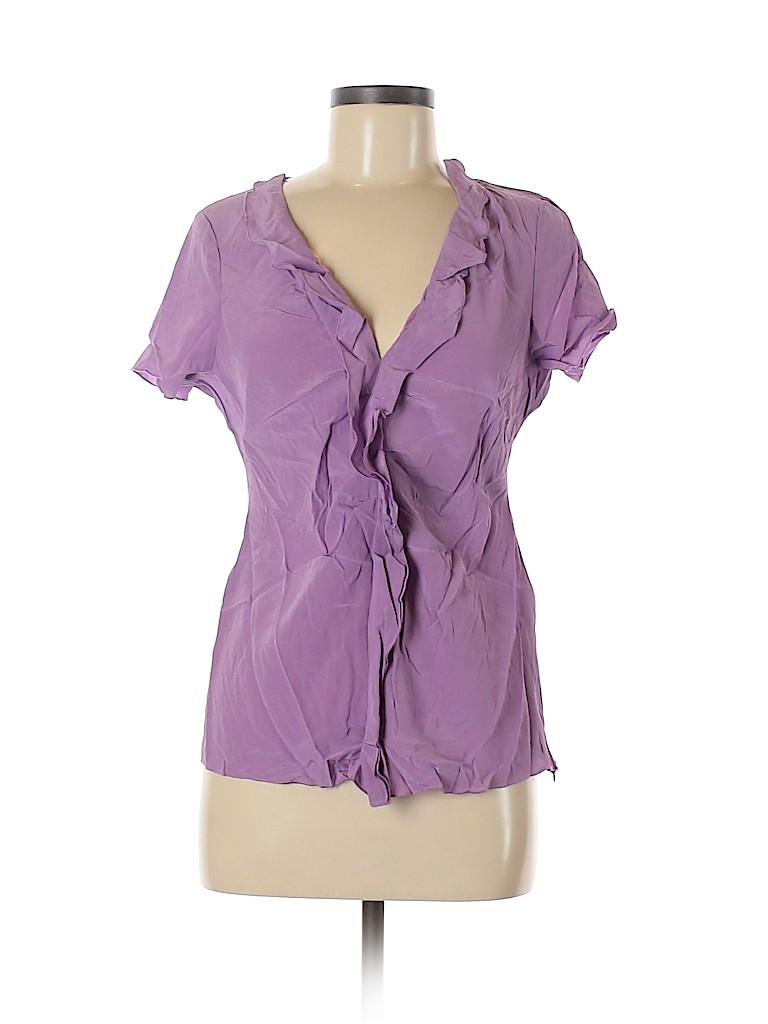 T Tahari Women Short Sleeve Silk Top Size M