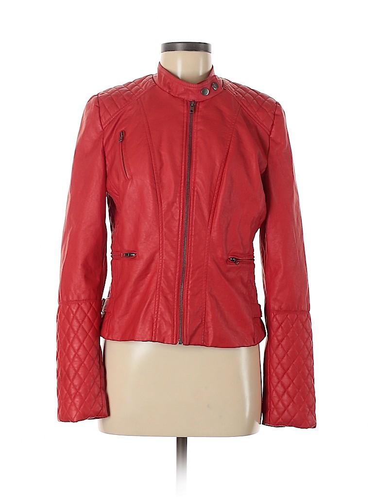 Maralyn & Me Women Faux Leather Jacket Size L