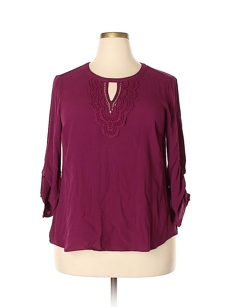 Daniel Rainn Women Long Sleeve Blouse Size 1X (Plus)
