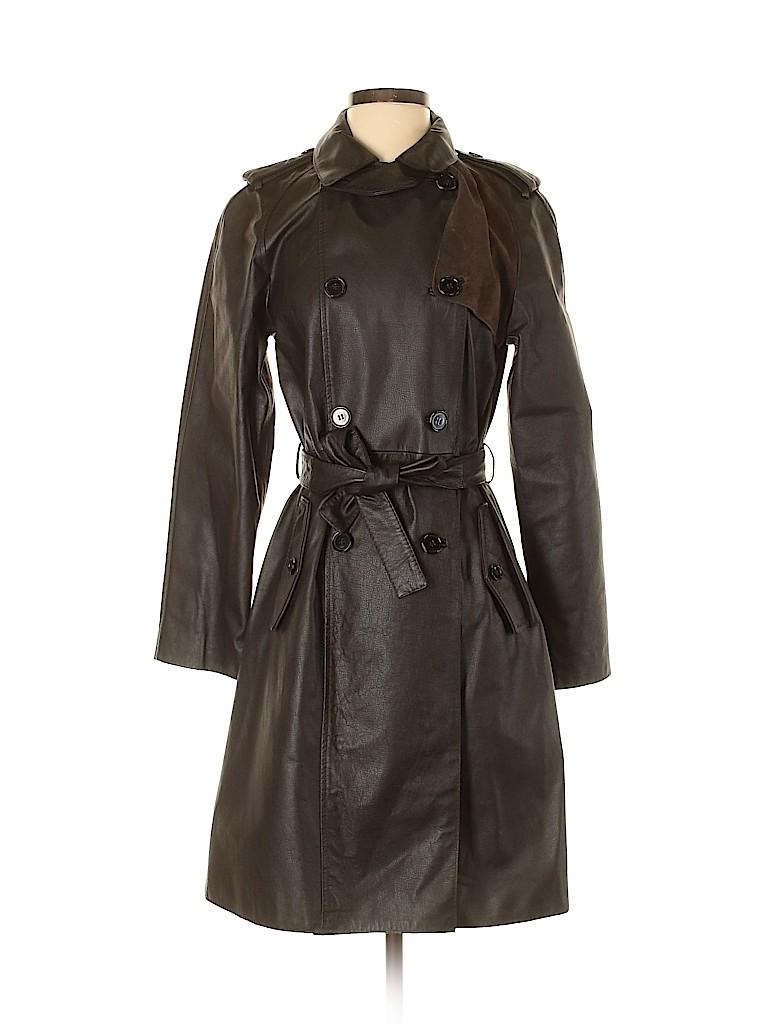 Faconnable Women Leather Jacket Size 4