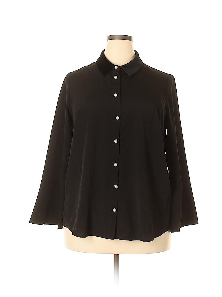 ELOQUII Women Long Sleeve Blouse Size 16 (Plus)