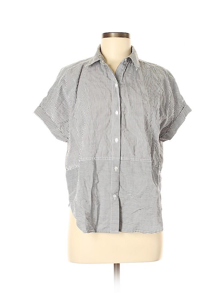 CALVIN KLEIN JEANS Women Short Sleeve Button-Down Shirt Size S