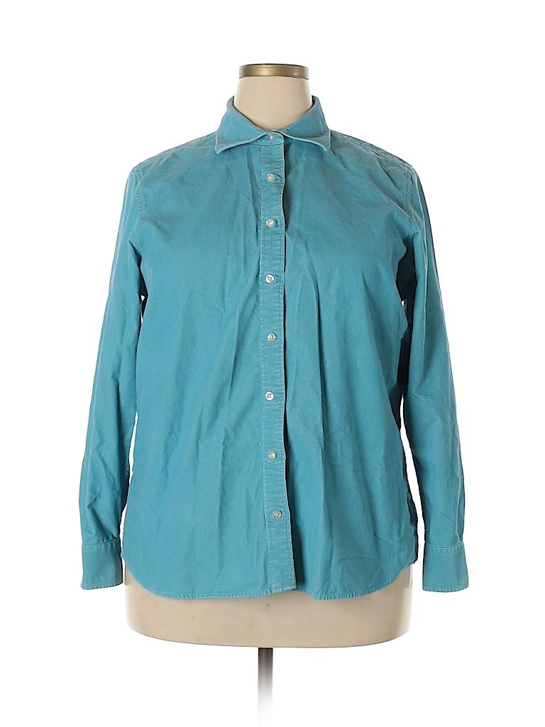 Lands' End Women Long Sleeve Button-Down Shirt Size 1X (Plus)