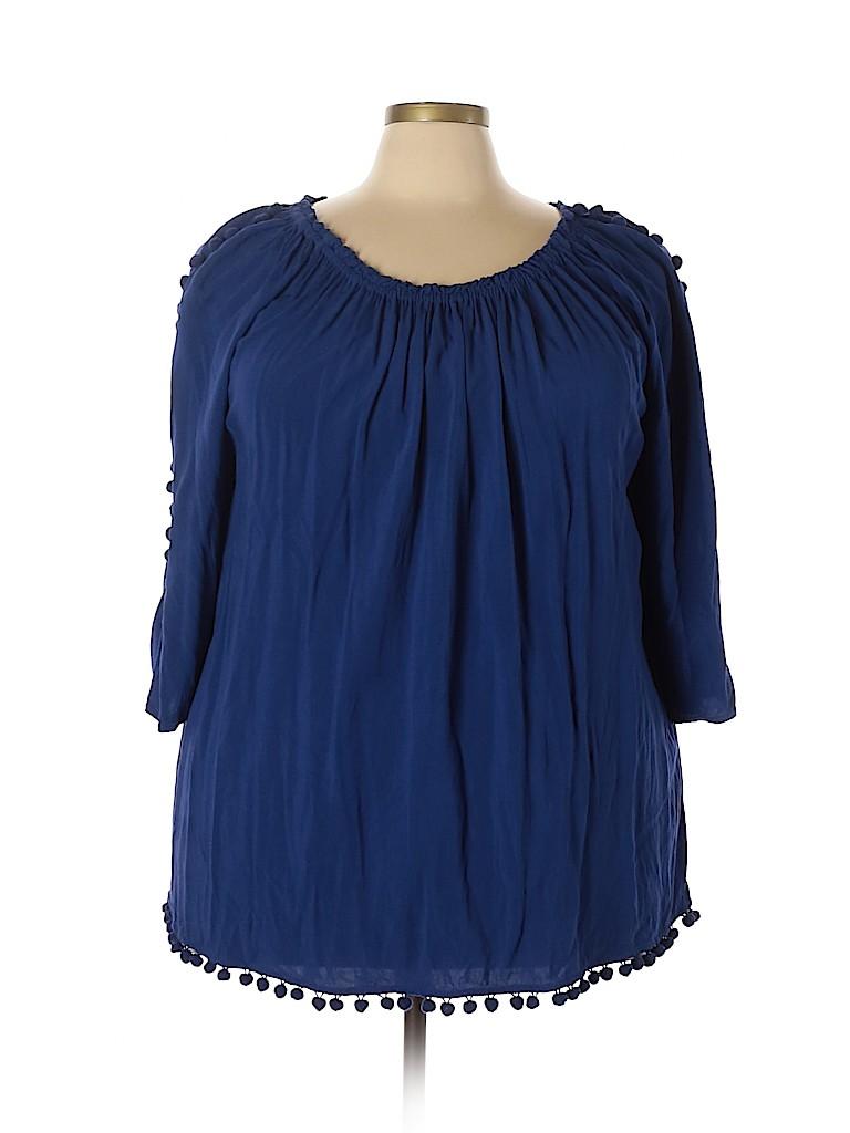 Sunny Leigh Women 3/4 Sleeve Blouse Size 3X (Plus)