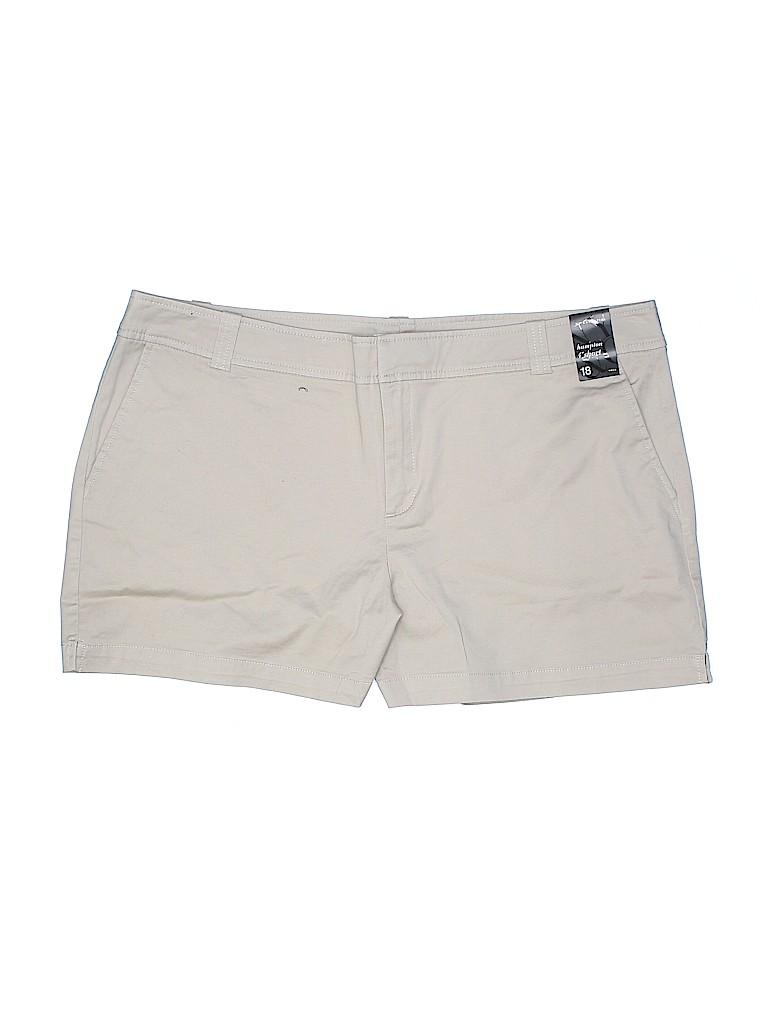 New York & Company Women Khaki Shorts Size 18 (Plus)