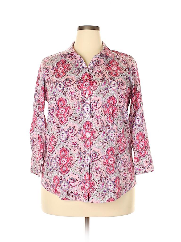Talbots Women 3/4 Sleeve Button-Down Shirt Size 14w