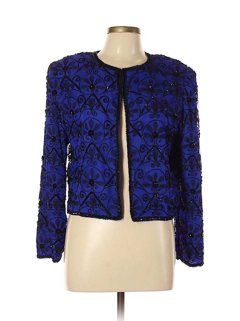 Lawrence Kazar Women Silk Blazer Size L