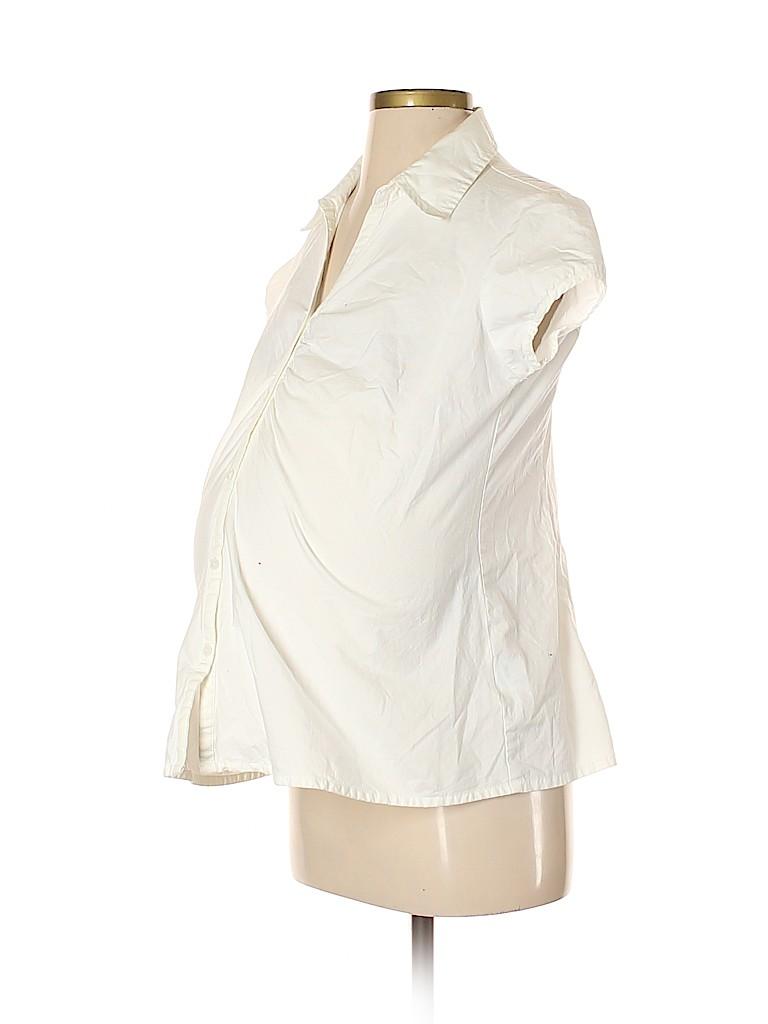Announcements Maternity Women Short Sleeve Button-Down Shirt Size S (Maternity)