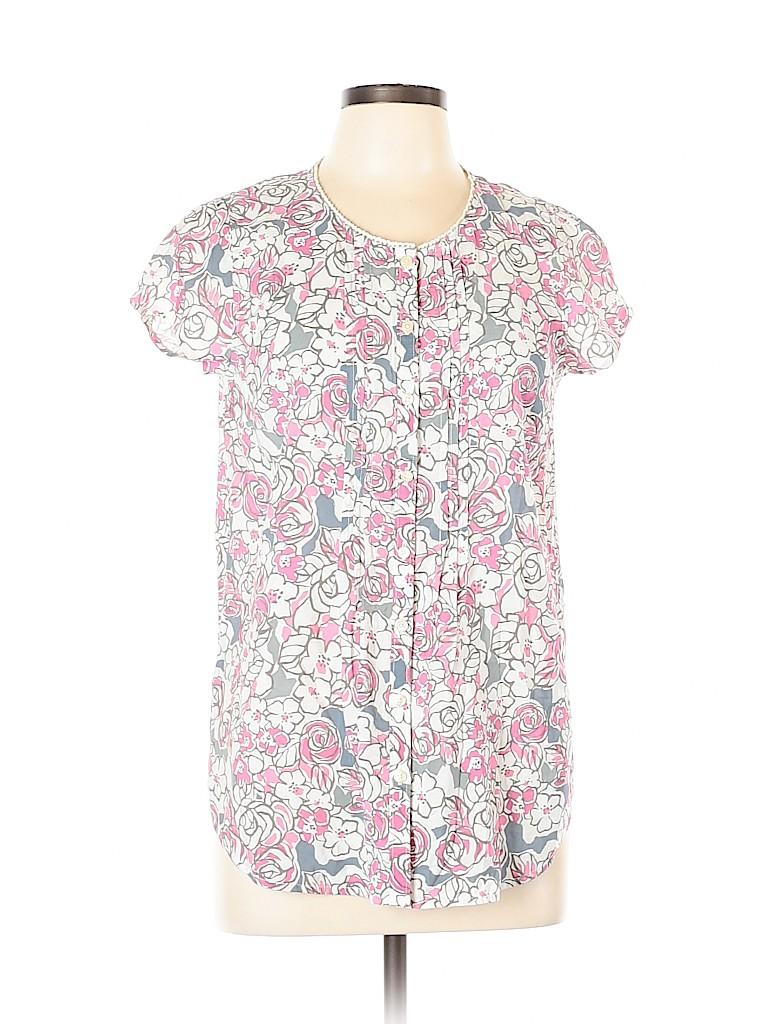Bass Women Short Sleeve Button-Down Shirt Size L