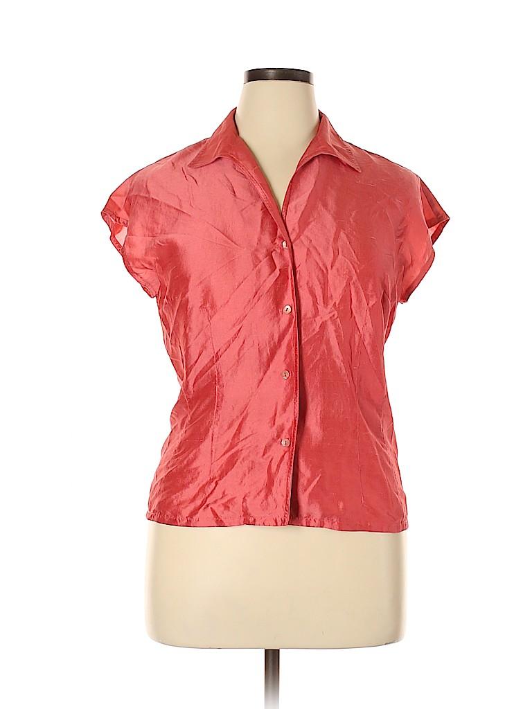Talbots Women Short Sleeve Silk Top Size 14