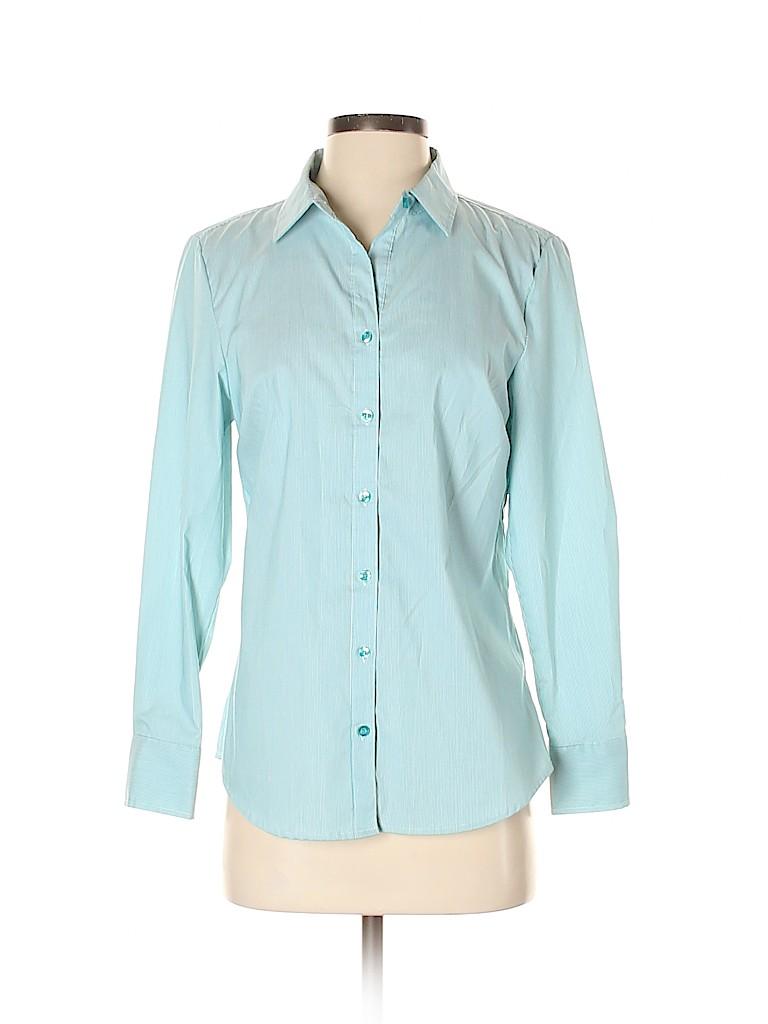 George Women Long Sleeve Button-Down Shirt Size S