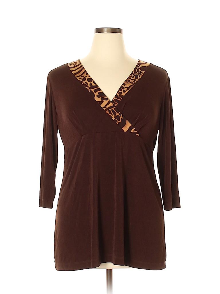 Carolyn Strauss Women 3/4 Sleeve Top Size L