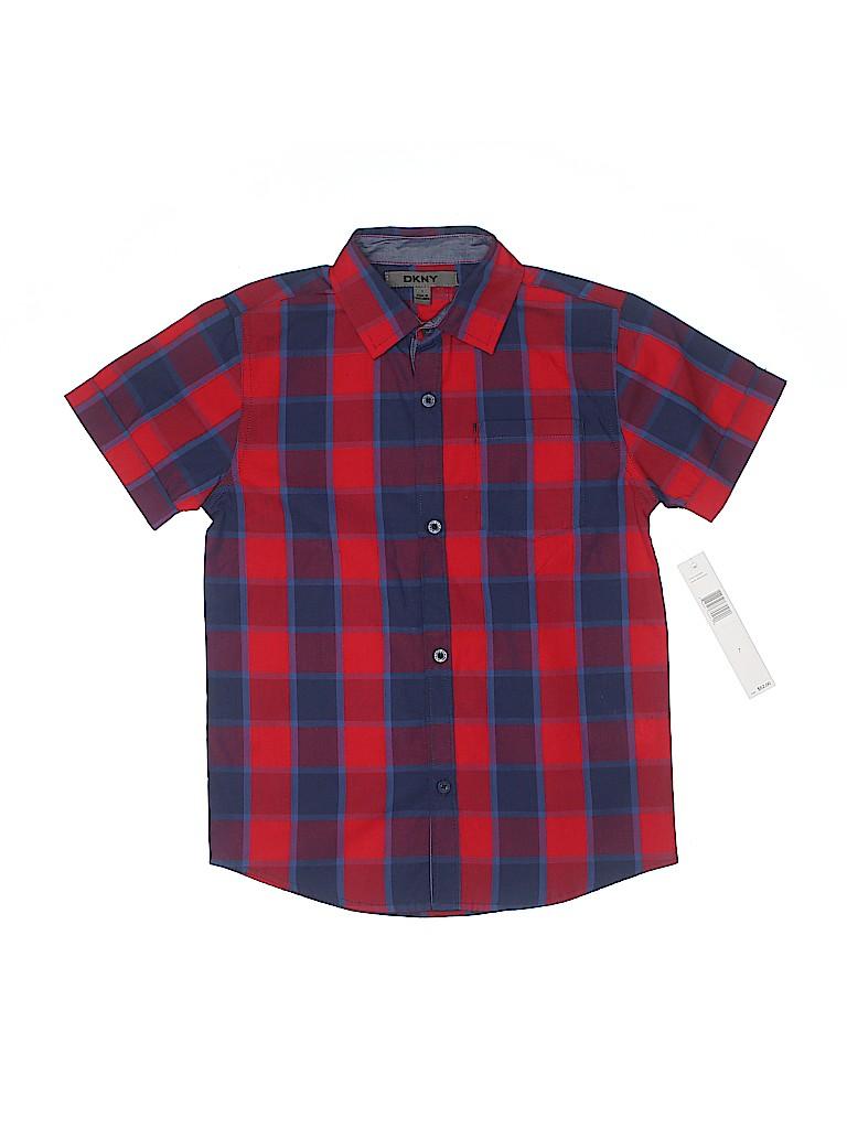 DKNY Boys Short Sleeve Button-Down Shirt Size 7