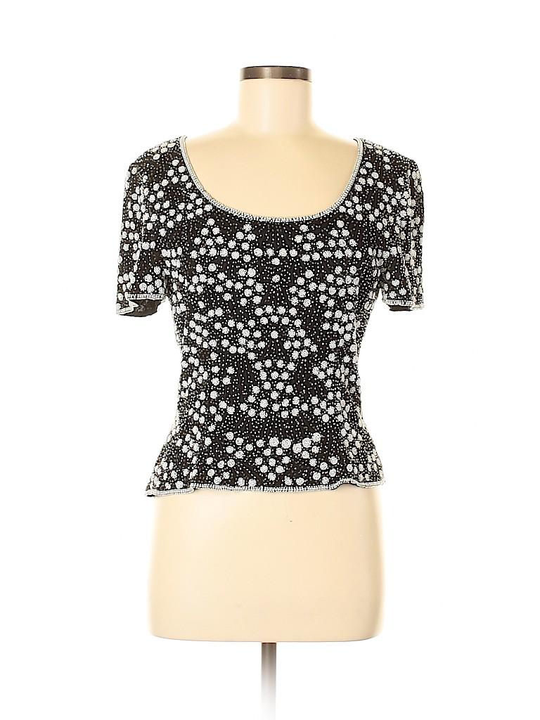 Adrianna Papell Women Short Sleeve Silk Top Size M