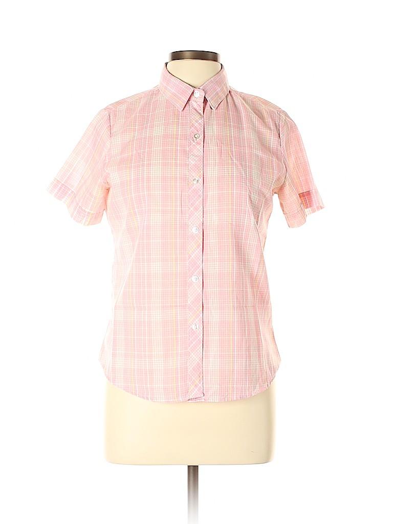 Sears Women Short Sleeve Button-Down Shirt Size 12